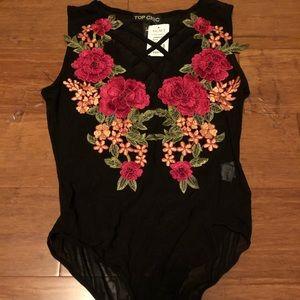 Mesh floral bodysuit